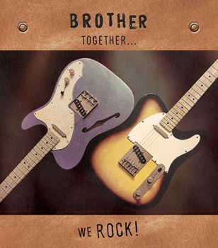 Birthday Cards For Brothers - BROTHER TOGETHER WE ROCK - Birthday Cards FOR MEN - Electric GUITAR Birthday CARD - Birthday CARDS - Funny Brother CARD
