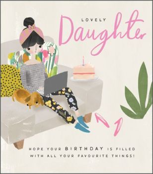 Daughter Birthday Cards - LOVELY Daughter - Teenage DAUGHTER Birthday CARDS - Lovely Daughter BIRTHDAY Cards - Laptop & CAKE Birthday CARD