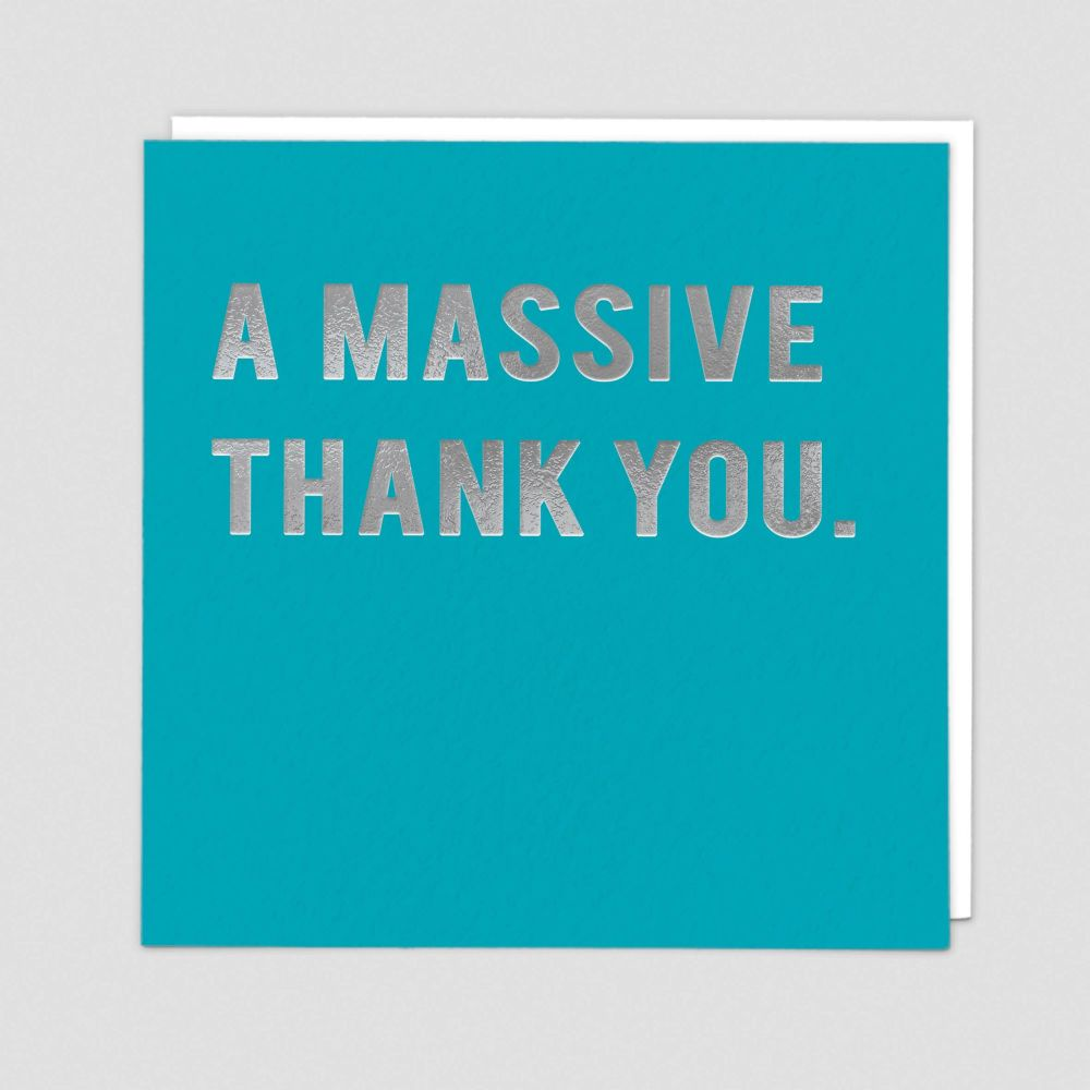 Thank You Cards - A MASSIVE Thank YOU - Silver FOIL Thank YOU Card - THANK
