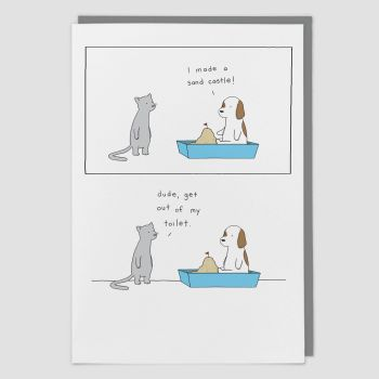 Funny Greeting Cards - I Made A SANDCASTLE - HUMOROUS Greeting CARDS - Funny CARDS - Funny BIRTHDAY Cards FOR Friend - FUNNY Pets CARD