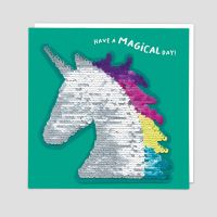 Unicorn Cards - HAVE A Magical DAY - Unicorn BIRTHDAY Cards - SEQUIN Cards - BIRTHDAY Cards For DAUGHTER - Granddaughter - NIECE - Sister
