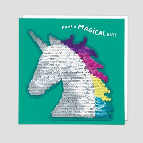 Unicorn Cards - HAVE A Magical DAY - Unicorn BIRTHDAY Cards - SEQUIN Cards