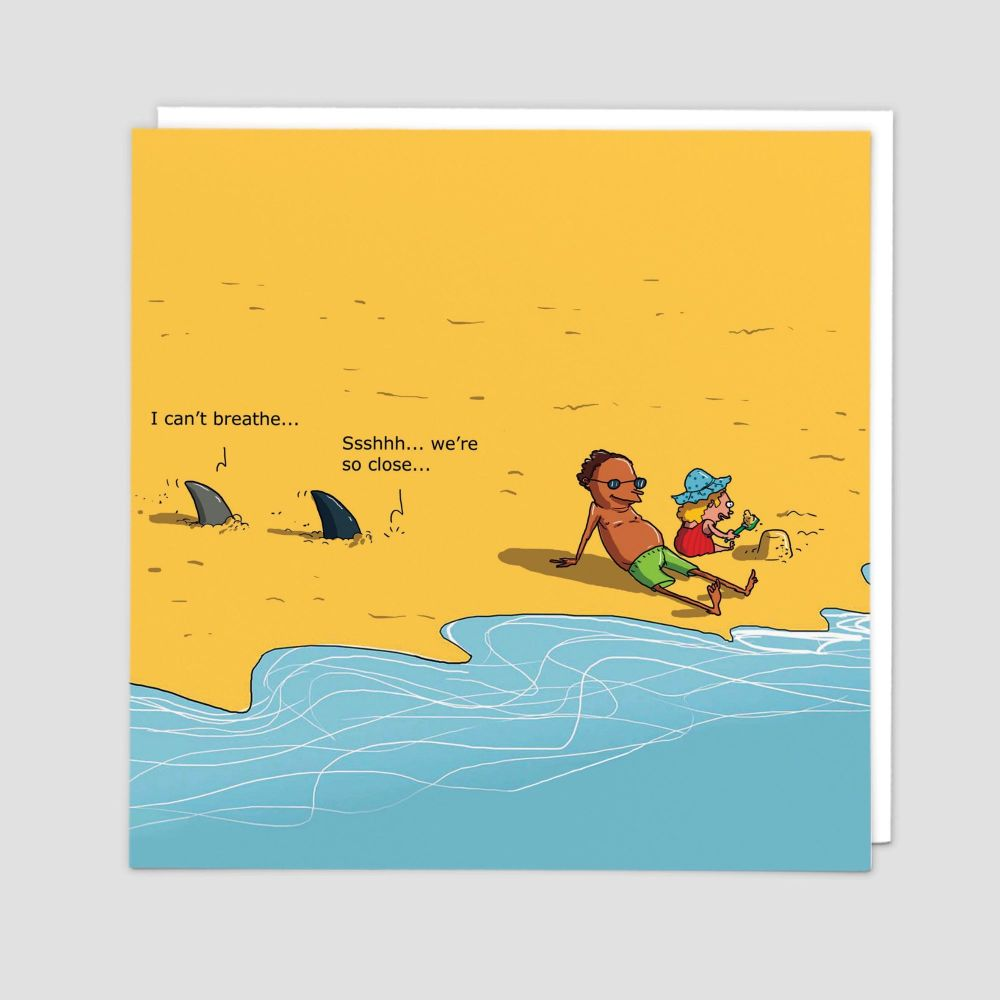 BANTER Cards - Ssshhh WE'RE So CLOSE - Blank GREETING Cards - FUNNY Shark C