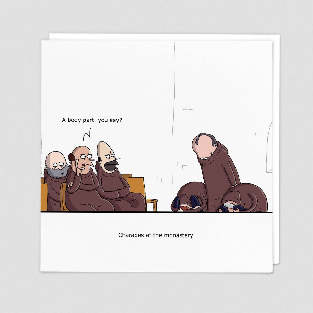 Rude Cards - BANTER Cards - CHARADES At The MONASTERY - Blank GREETING Card