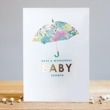 Baby Shower Card - Have A WONDERFUL Baby SHOWER - Pretty FLORAL Umbrella BABY Shower CARD - New BABY Card - Pregnancy CARD - BABY Shower CARDS