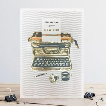 New Job Cards - CELEBRATING Your New Job - TYPEWRITER Card - TYPEWRITER New JOB Card - New Job - GOLD Foil CARD - CARD For FRIEND - WORK Colleague