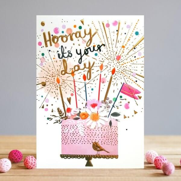 Birthday Card For Her - HOORAY it's YOUR Day - Birthday CAKE Card - CAKE Bi