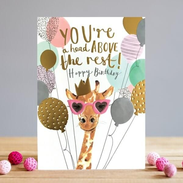 Birthday Cards - HAPPY BIRTHDAY - Balloon CARD - Giraffe BIRTHDAY Cards - B