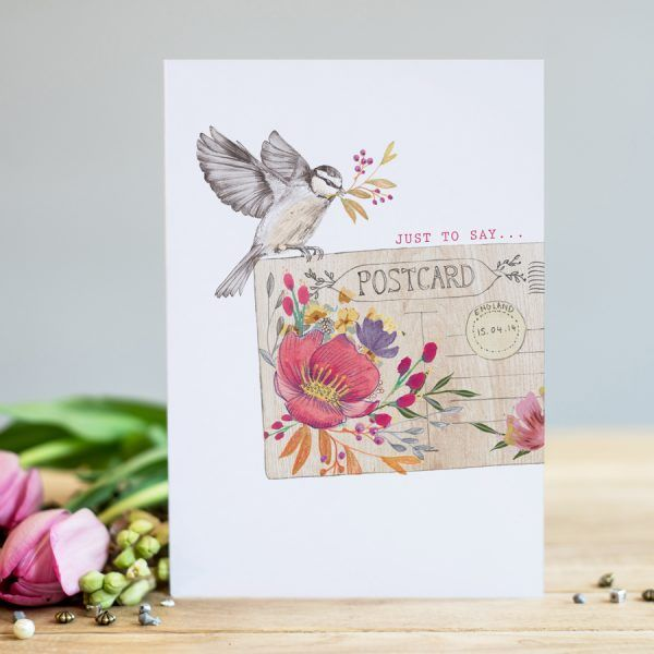 Friendship Cards - JUST To SAY - Postcard & Garden BIRD - Card For FRIEND -