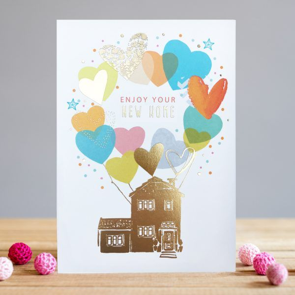 New Home Cards - ENJOY Your NEW HOME - MOVING House CARD - PRETTY Foiled HE