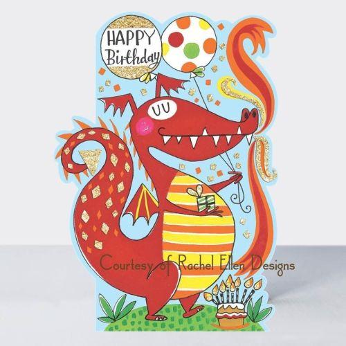 Birthday Card Boy - Dragon BIRTHDAY Card - HAPPY Birthday - CHILDREN'S Birt