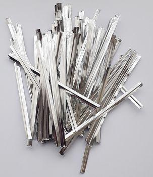 100 Silver Metallic Twist Ties - 10 cm BAG Ties - TWIST Ties - CELLO Bag TIES - PARTY Supplies - FREEZER Bag TIES - Cake POP Ties - Silver WIRE Ties