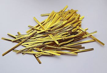 100 Gold Metallic Twist Ties - 10 cm BAG Ties - TWIST Ties - CELLO Bag TIES - PARTY Supplies - FREEZER Bag TIES - Cake POP Ties - Gold WIRE Ties