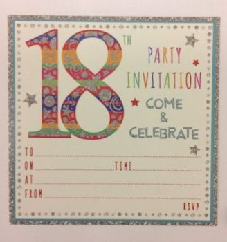 18th Birthday Invitations - COLOURFUL Embossed Birthday INVITATIONS & ENVELOPES 10pk - 18th Birthday Party INVITES - Party INVITATIONS