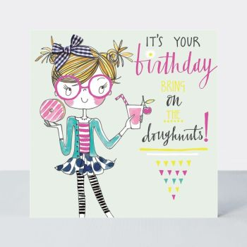 Birthday Card For Little Girl - BRING On The DOUGHNUTS - Little MISS Sassy BIRTHDAY Card - Children's Birthday Card - DAUGHTER - GRANDDAUGHTER