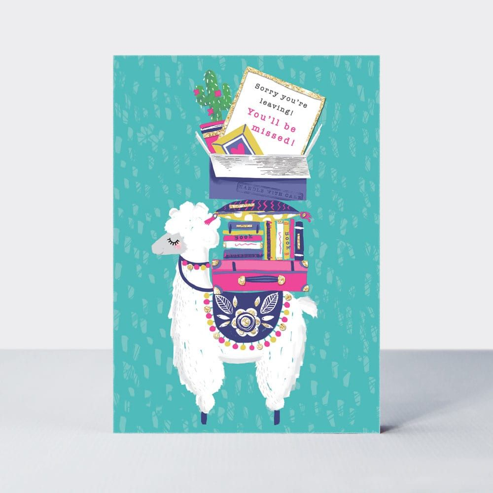 Leaving Cards - YOU'LL Be MISSED - Leaving Card WISHES - LLAMA Card - LLAMA