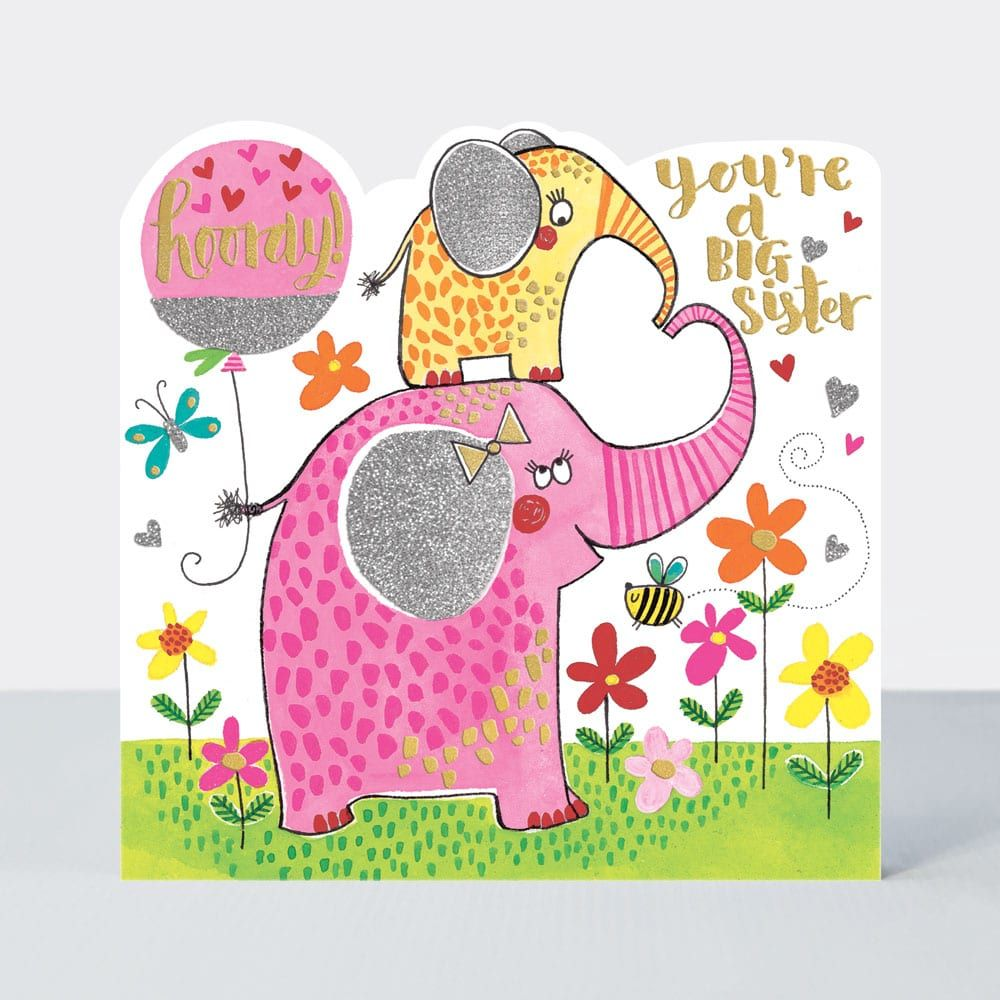 New Big Sister Cards - SISTER to BE - HOORAY You're A BIG Sister - BIG Sist