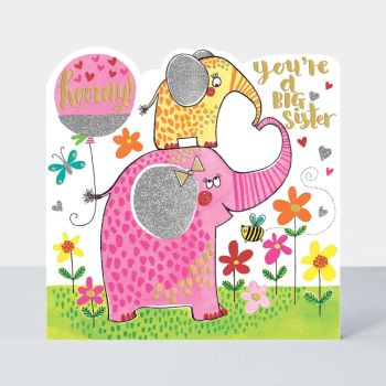 New Big Sister Cards - SISTER to BE - HOORAY You're A BIG Sister - BIG Sister CARD - CUTE Elephants & BALLOON - CONGRATULATIONS On Becoming A Big SIS