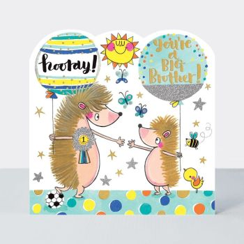 New Big Bother Cards - BROTHER to BE - HOORAY You're A BIG Brother - BIG Brother CARD - CUTE Hedgehogs - CONGRATULATIONS On Becoming A Big BRO