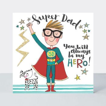 Fathers Day Cards - SUPERHERO Fathers DAY Cards - Super DAD - YOU Will ALWAYS Be My HERO - Funny DAD Card - SUPERHERO Dad CARD
