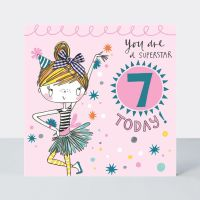 7th Birthday Card Girl - YOU Are A SUPERSTAR - 7 TODAY - Little MISS Sassy BIRTHDAY Card - Children's Birthday Card - DAUGHTER - GRANDDAUGHTER