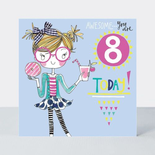 8th Birthday Card Girl - AWESOME You Are EIGHT Today - Little MISS Sassy BI