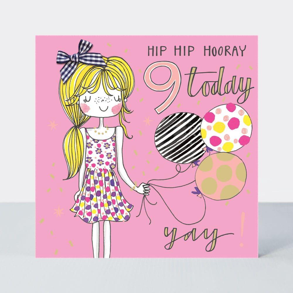 9th Birthday Card Girl - HIP HP Hooray 9 Today - Little MISS Sassy BIRTHDAY