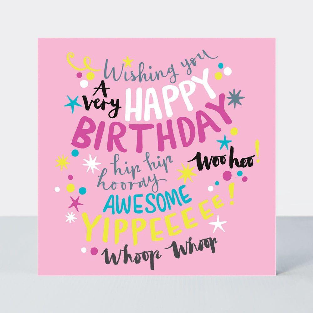 Birthday Card for Girl - PINK Girly Birthday CARD - A Very HAPPY Birthday -