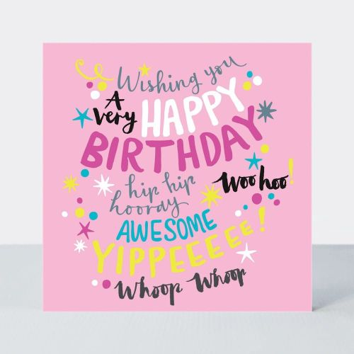 Birthday Card for Girl - PINK Girly Birthday CARD - A Very HAPPY Birthday -
