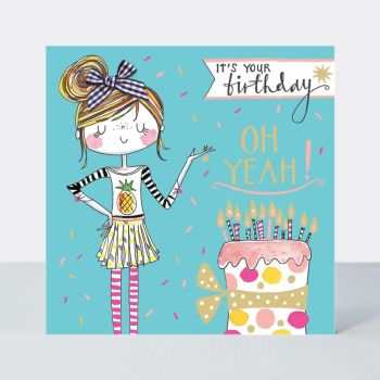 Birthday Card For Little Girl - IT'S YOUR Birthday OH Yeah - Little MISS Sassy BIRTHDAY Card - Children's Birthday Card - DAUGHTER - GRANDDAUGHTER