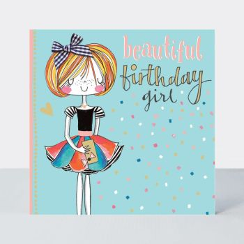 Birthday Card Girl - BEAUTIFUL Birthday GIRL - Little MISS Sassy BIRTHDAY Card - Children's Birthday Card - DAUGHTER - GRANDDAUGHTER
