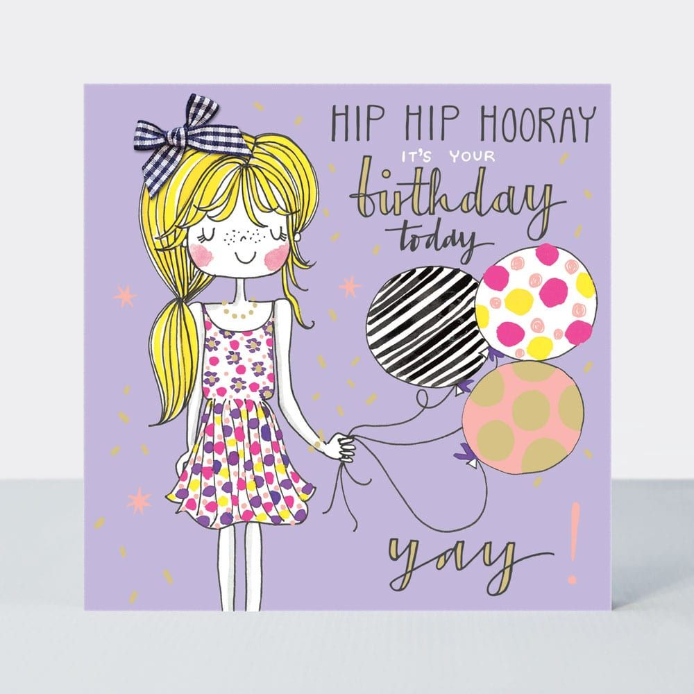Birthday Card Girl - HIP Hip HOORAY - Little MISS Sassy BIRTHDAY Card - Chi