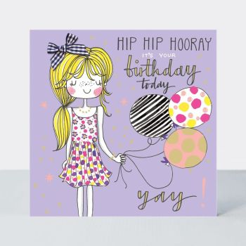 Birthday Card Girl - HIP Hip HOORAY - Little MISS Sassy BIRTHDAY Card - Children's Birthday Card - DAUGHTER - GRANDDAUGHTER