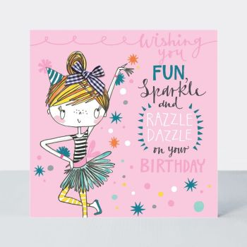Birthday Card Girl - RAZZLE Dazzle On YOU Birthday - Little MISS Sassy BIRTHDAY Card - Children's Birthday Card - DAUGHTER - GRANDDAUGHTER