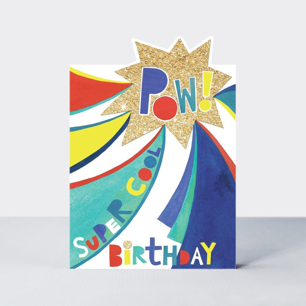 Birthday Card for Boy - POW Greeting Card - SUPER Cool BIRTHDAY - SUPERHERO