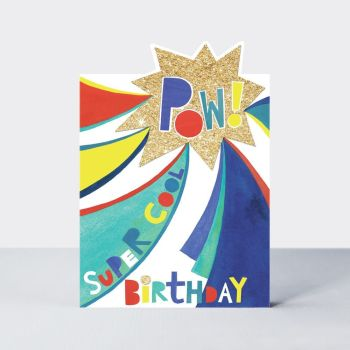 Birthday Card for Boy - POW Greeting Card - SUPER Cool BIRTHDAY - SUPERHERO Birthday CARD - BIRTHDAY Card for SON - Nephew - GRANDSON - Brother