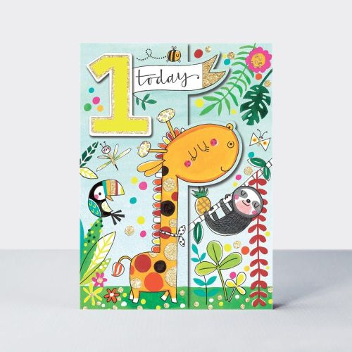 1st BIRTHDAY CARD Giraffe - 1 TODAY - SLOTH BIRTHDAY Card - Zoo ANIMALS - J