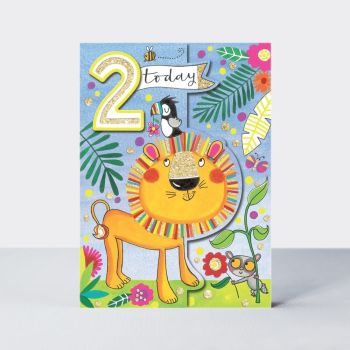 2nd Birthday Card Boy - LION 2nd Birthday CARD - 2 TODAY - LION Greeting Card - JUNGLE - Zoo Animals Birthday CARD - SON - Grandson - NEPHEW