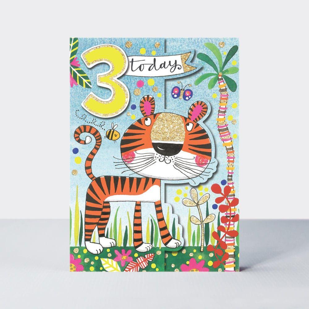 3rd Birthday Card - 3 TODAY - TIGER Birthday CARD - Zoo ANIMALS Birthday CA