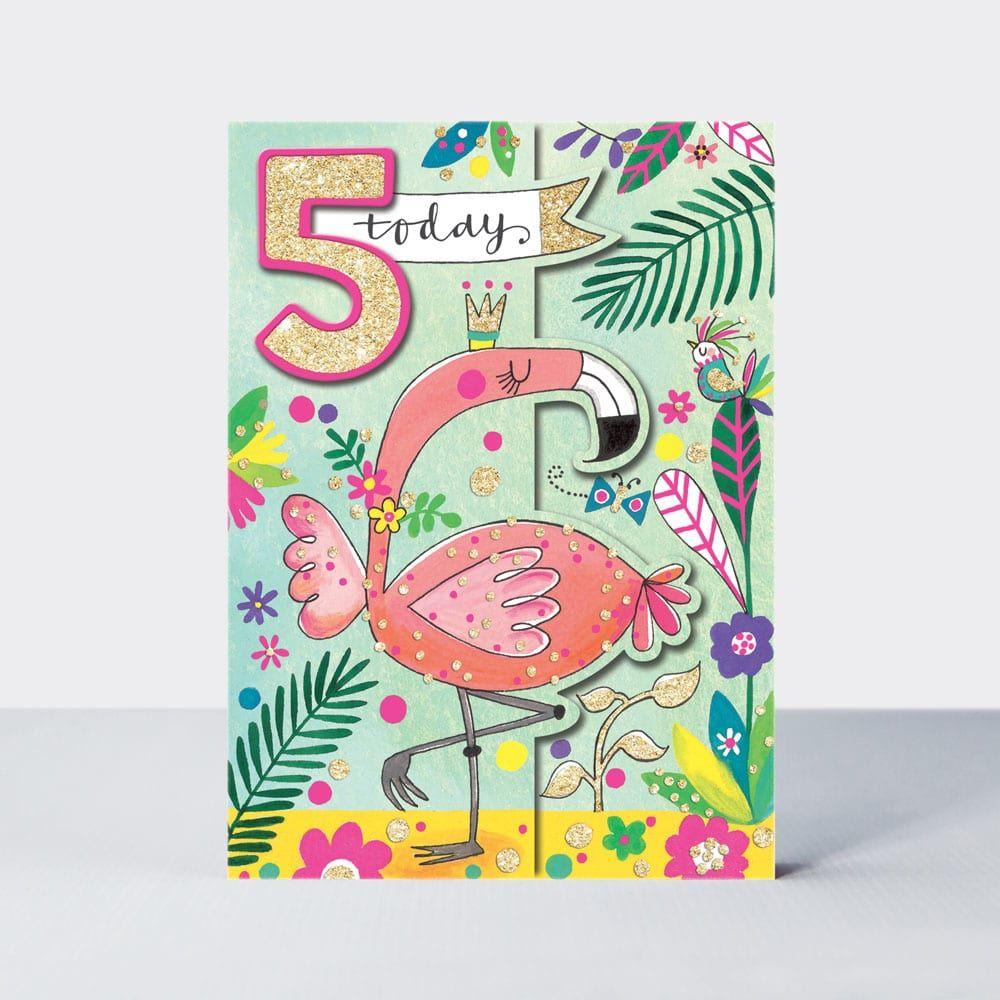 5th Birthday Card Girl - Flamingo BIRTHDAY Card - 5 TODAY Flamingo BIRTHDAY