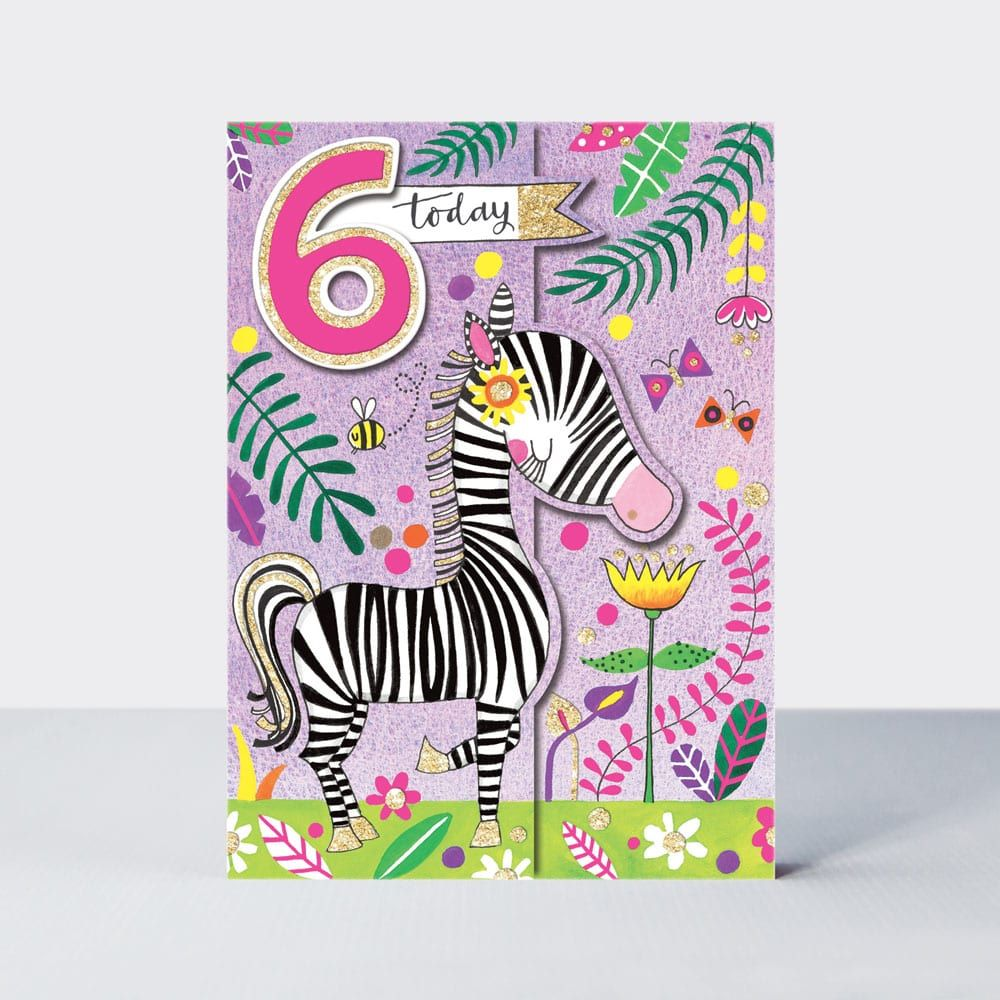 6th Birthday Card Girl - 6 TODAY Birthday Card - SPARKLY Zebra CARD - Jungl
