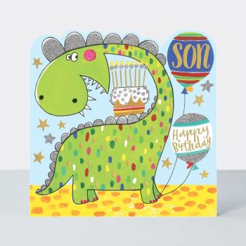 Birthday Card Boy - Dinosaur BIRTHDAY Card - HAPPY Birthday SON - CHILDREN'S Birthday Card - CARD For SON - Dinosaur BIRTHDAY Greeting CARD For SON