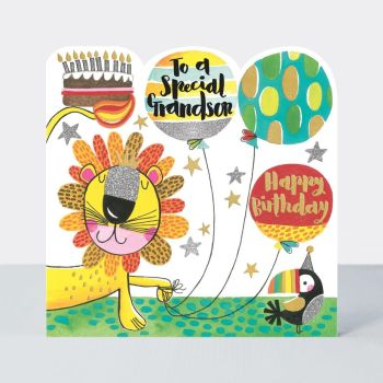 Birthday Card for Grandson - TO A Special GRANDSON - Lion BIRTHDAY Card - JUNGLE Birthday CARD - HAPPY Birthday - Children's BIRTHDAY Card - GRANDSON