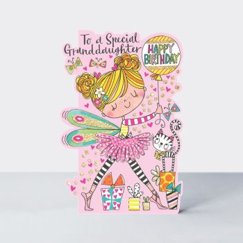 Birthday Card for Granddaughter - TO A Special GRANDDAUGHTER - SPARKLY Birthday CARD - Fairy CARD - Childrens Happy Birthday CARD