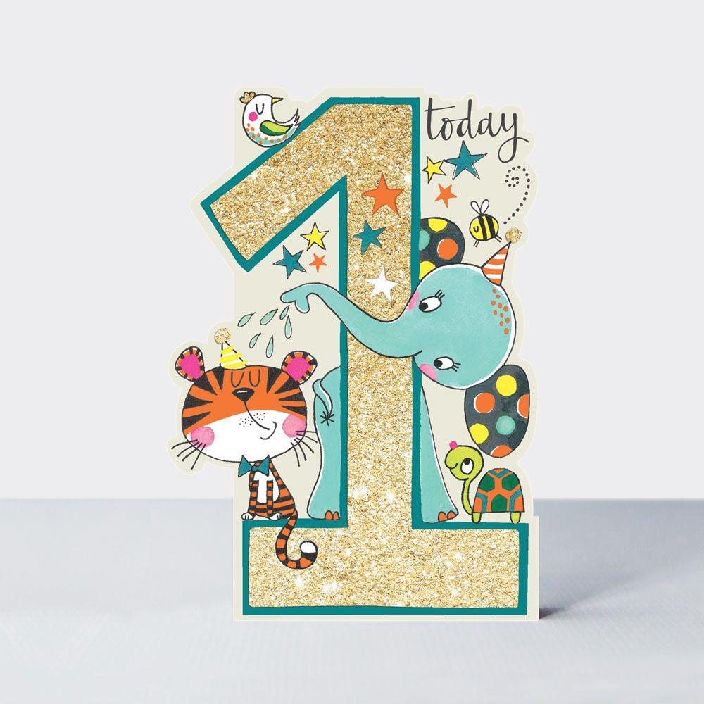 1st Birthday Card Son - 1 TODAY - Zoo Animal BIRTHDAY Card - ELEPHANT Card