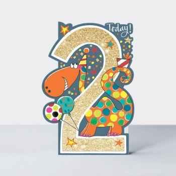 2nd Birthday Card Boy - 2 TODAY - Dinosaur 2nd BIRTHDAY Card - DINOSAUR Birthday Card - SON Birthday GREETING Card - GRANDSON - Nephew