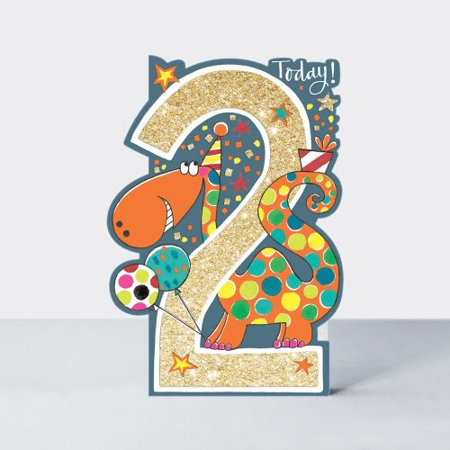2nd Birthday Card Boy - 2 TODAY - Dinosaur 2nd BIRTHDAY Card - DINOSAUR Bir