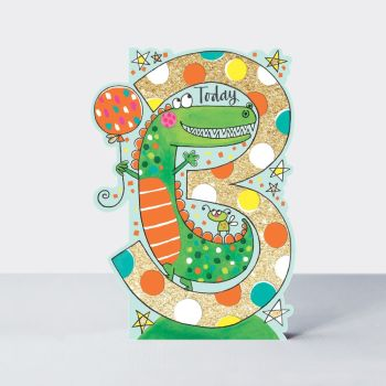 3rd Birthday Card - 3 TODAY Crocodile BIRTHDAY Card - Crocodile BIRTHDAY Card - SON - Grandson - NEPHEW Birthday CARD