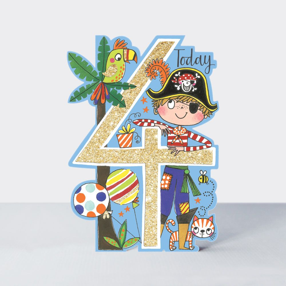 4th Birthday Card Boy - Pirate BIRTHDAY Card For CHILDREN - BOY'S BIRTHDAY