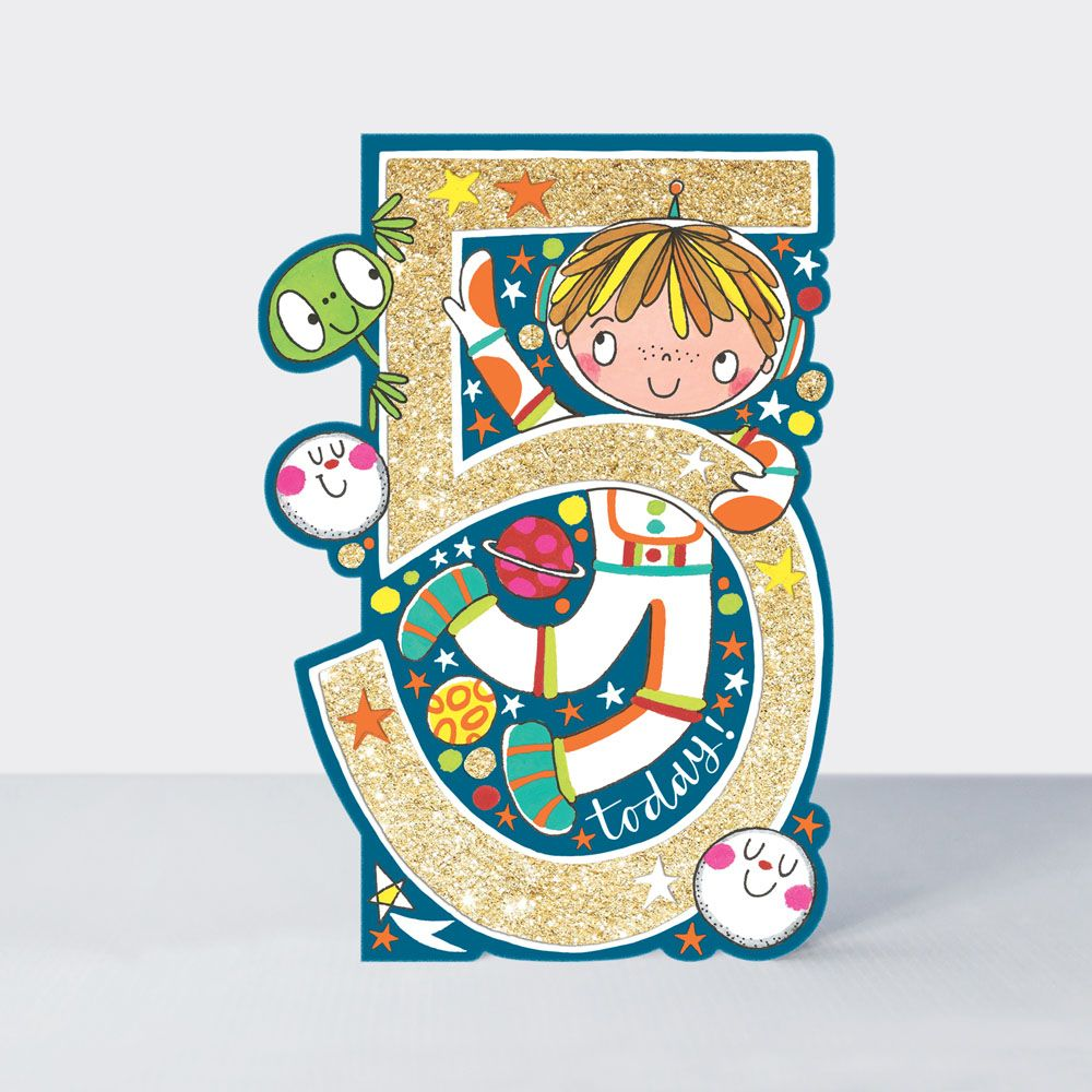 5th Birthday Card Boy - ASTRONAUT Spaceman BIRTHDAY CARD - 5th BIRTHDAY Ast